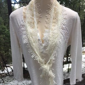 Romantic  creamy lace on lace silky long scarf